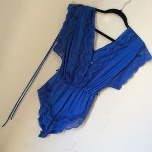 Bright Blue Lace Vintage Romper
